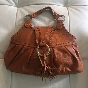 Leather handbag, bohemian style